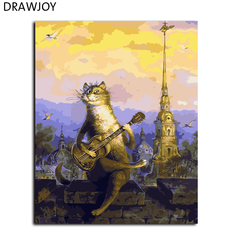 DRAWJOY Cartoon Cat Framed Wall Pictures Painting By Numbers Home Decor Hand Painted On Canvas Handwork Gifts GX9626 40*50cm