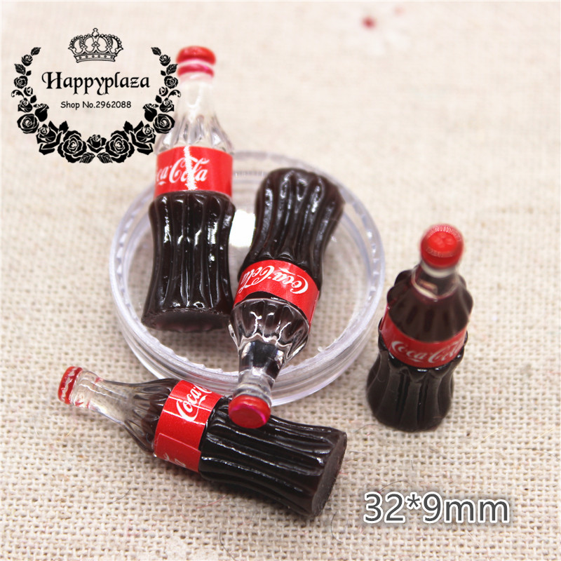 10pcs Kawaii Resin Simulation 3D Drink Bottle Miniature Art Flatback Cabochon DIY Craft Decoration,32*9mm