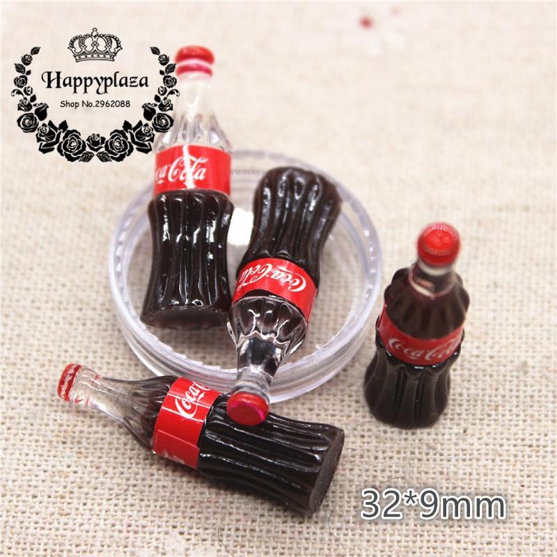 10pcs Kawaii Resin Simulation 3D Drink Bottle Miniature Art Flatback Cabochon DIY Craft Decoration,32*9mm