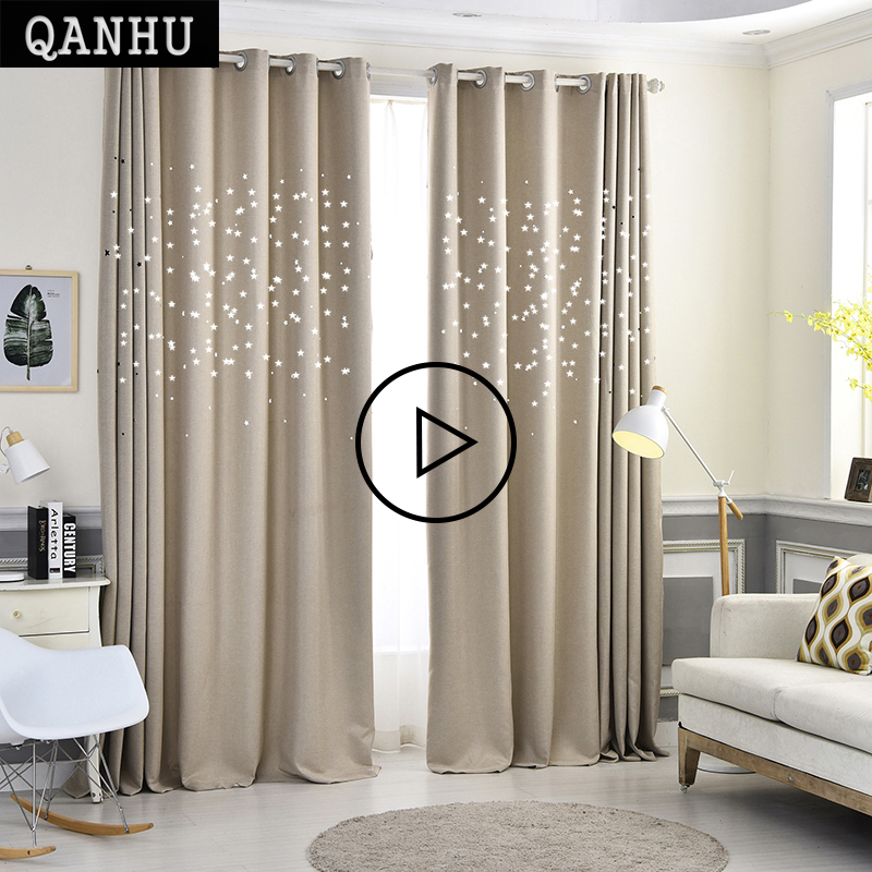 QANHU Modern Stars Window Curtains for Living Room Quality Free Shipping Bedroom Curtain Door Curtain for Kitchen plf 10