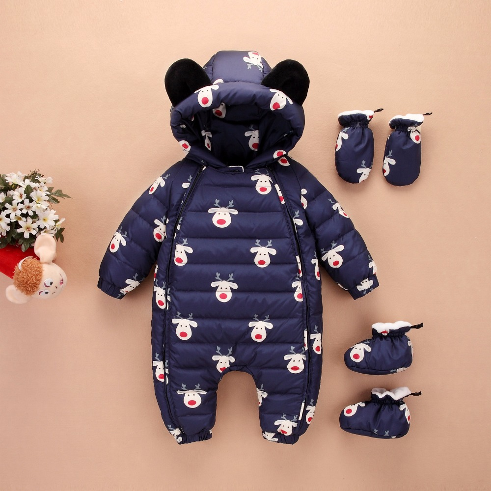 Baby Cool Winter warm duck down Rompers Thick Jumpsuit baby wear girl Snowsuit Kid Newborn Clothes 3pc romper+shoes+gloves 2017 new baby winter romper cotton padded thick newborn baby girl warm jumpsuit autumn fashion baby s wear kid climb clothes