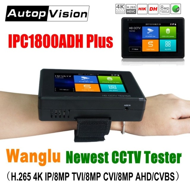Wanglu Newest 4 inch Wrist CCTV IP Camera Tester H.265 4K IP 8MP TVI 8MP CVI 8MP AHD Analog 5 in 1 CCTV Tester Monitor with WIFI