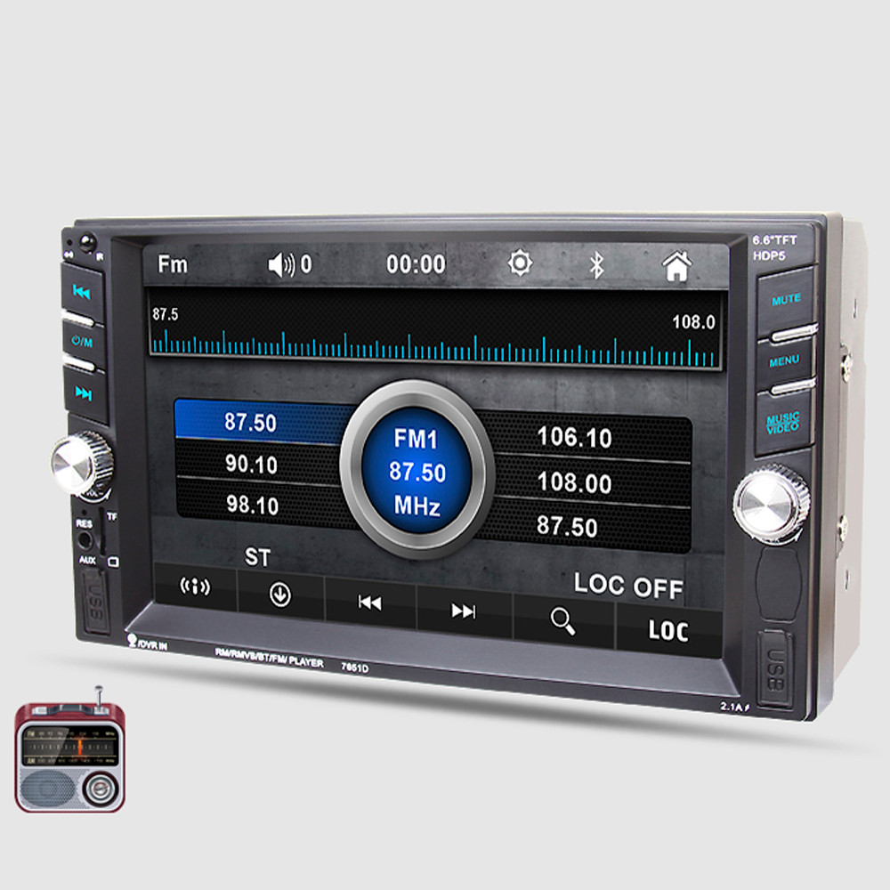 6.6 Bluetooth Car Stereo Audio In-Dash Aux Input Receiver SD/USB MP5 Player Fashion 17Sept6