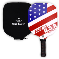 Pickleball Paddle Edgeless Graphite PickleBall Paddle Racket PP Honeycomb Core+Cover New Patriotism Style,Red Blue White