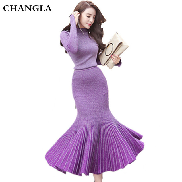CHANGLA 2016 Autumn Winter Fashion Designer Runway Suit Set Women's Mermaid Skirt Set Gradient Color Long Sleeve Knitting Sweat