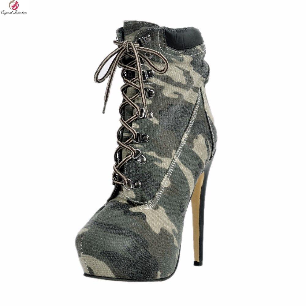 df7bffa20cfa6 Femme De Camouflage Ef0109 Initiale L intention Élégant Bottines Mince Plus  Rond Mode La Femmes Talons ...