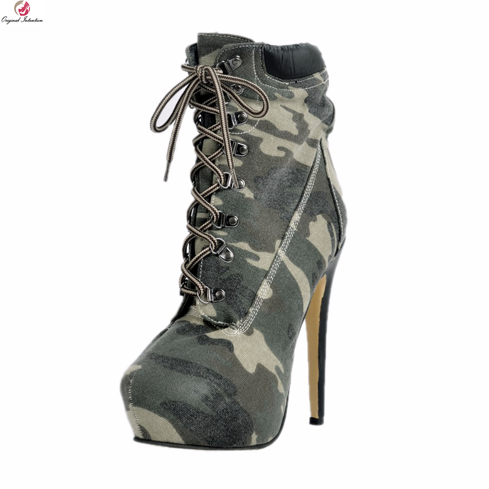 Original Intention Fashion Women Ankle Boots Round Toe Thin High Heels Boots Stylish Camouflage Shoes Woman Plus US Size 4-15 original intention new elegant women ankle boots round toe thin high heels boots fashion black shoes woman plus us size 4 15
