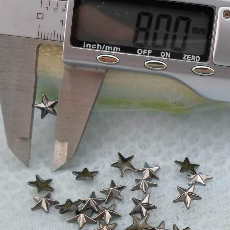 Beadsland Hotfix Iron On, 8mm Flat Back Star Studs - 1/4