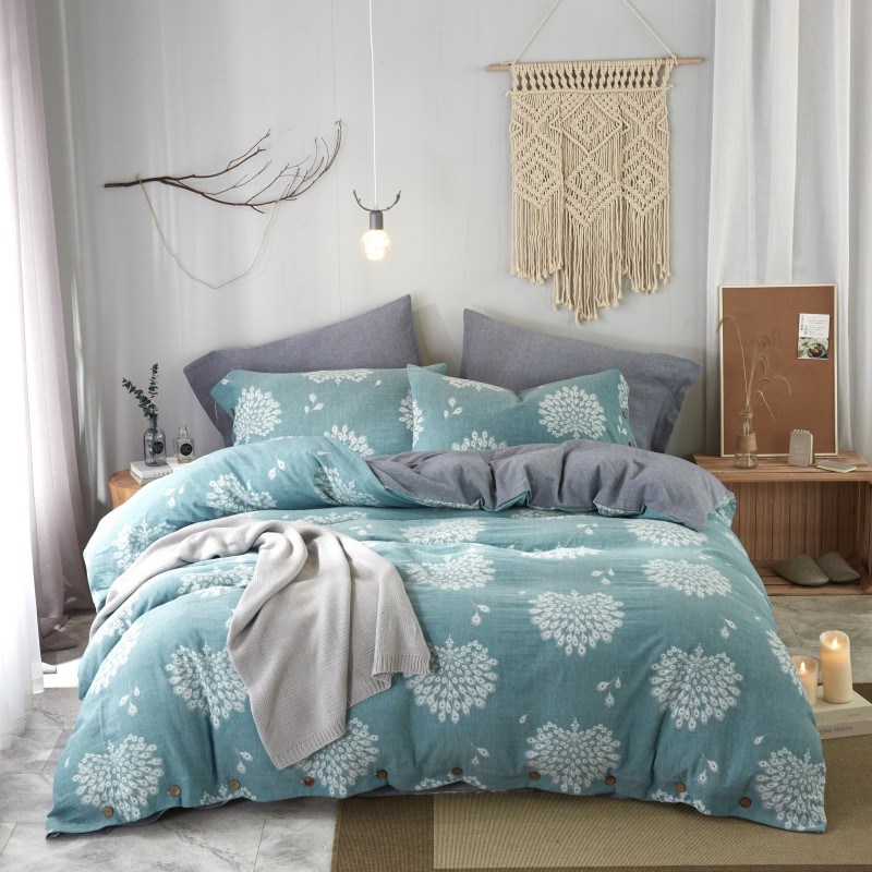 60s Double yarn Dyed Jacquard Cotton Bedding set Luxury King Queen size Bedsheet set Duvet cover flat sheet cotton with Button - 6