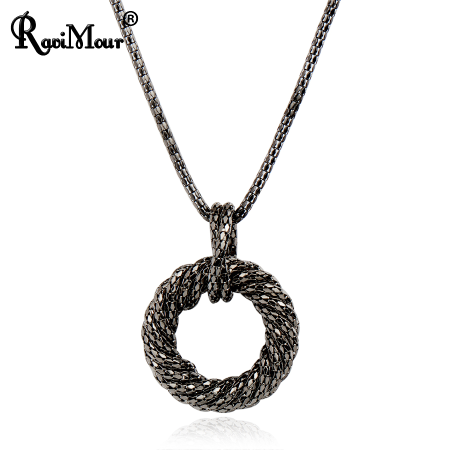 Moda duga ogrlica za žene veliki krug zlato / srebro boja lanac Maxi - Modni nakit - Foto 2