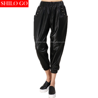 Fashion women high quality Sheepskin elastic waist locomotive rivet pocket pencil leisure black harem genuine leather pants XXXL