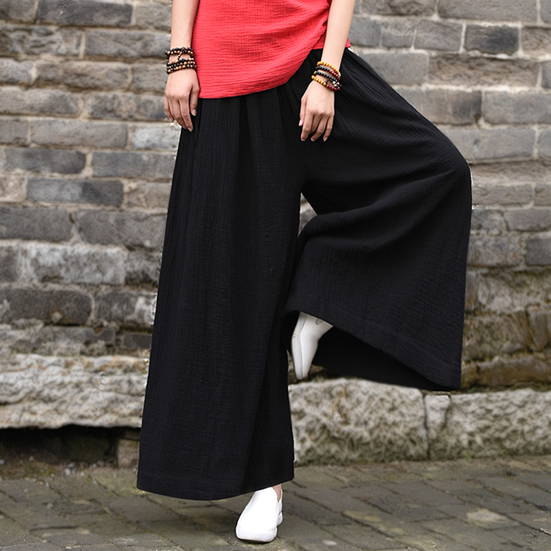 Elastic Waist Plus size Women Wide leg Pants Solid Black White Loose Casual Design Wide leg Trousers Summer Pants Skirt B149 inc new solid deep black women s size 2 tapered leg two pocket pull on pants $69