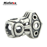 Mistletoe Genuine 925 Sterling Silver Thor's Hammer Charm Bead Fits European 3.0mm Bracelet Jewelry