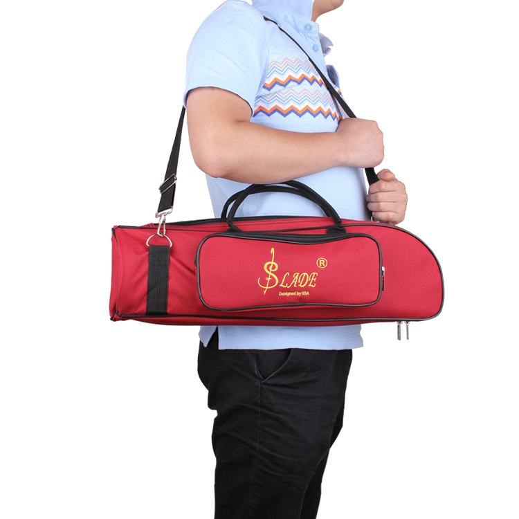 LADE RED B Trumpet Bag Case Thicken Padded Foam Twill Surface Non-woven Inner Cloth with Adjustable Shoulder Strap Pocket
