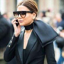 Flat Top Oversized Women Sunglasses Retro Shield Shape Luxy Brand Design Big Fra