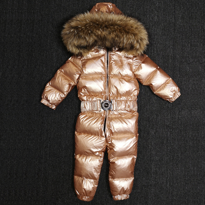 2018 Winter Baby Down Jacket Boy Snow Wear Natural Fur Girl Down Coat LUXURY Child Down Jumpsuit 80CM-130CM 2018 winter baby boy down jacket large fur girl down jacket natural fur kids snow wear children down outerwear 90