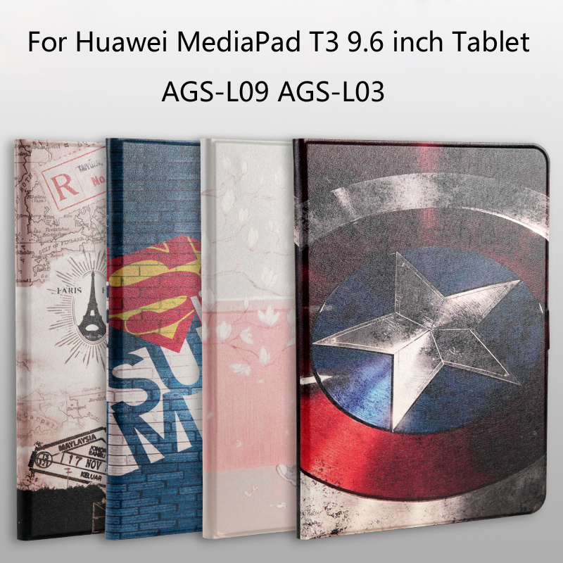 Fashion Painted Pu Leather Stand Holder Cover Case For Huawei MediaPad T3 10 AGS L09 AGS