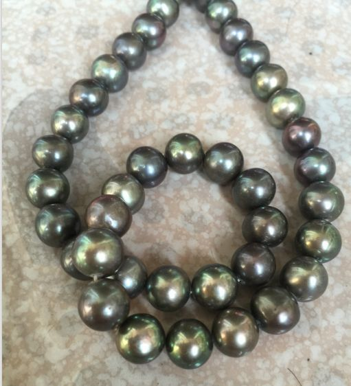 gorgeous 10-11mm AAA black green multicolor pearl necklace 18inch 925 silver