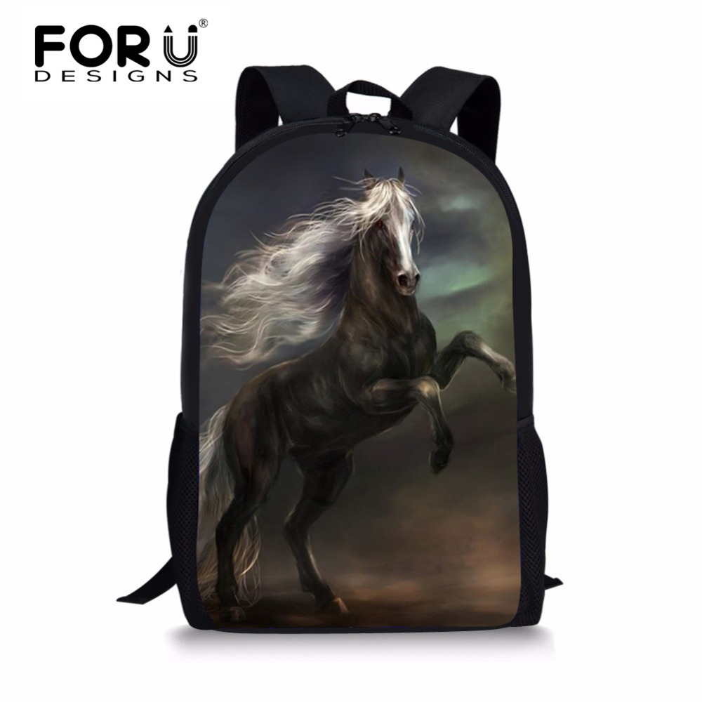 FORUDESIGNS Crazy Horse Kids Boys School Bags Casual Children Book Bags 3D Animal Tiger Student Schoolbags Bagpack Teenagers