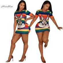 Plus Size XXXL Sequined Rabbit T Shirt Dress Vestidos Short Sleeve Robe Cartoon Casual Slim Women Rainbow Stripes