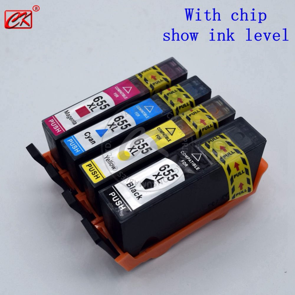 1Set 4x for HP 655 Printer Ink with Chip Ink Cartridge for HP deskjet 3525 4615