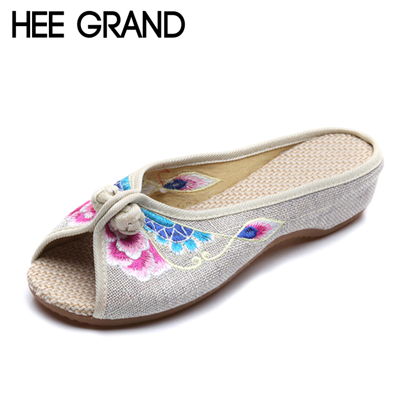 HEE GRAND 2017 Casual Slippers Summer Slides Slip On Flats Embroidered Casual Comfort Canvas Shoes Woman Size 35-41 XWD5198 hee grand summer gladiator sandals 2017 new platform flip flops flowers flats casual slip on shoes flat woman size 35 41 xwz3651