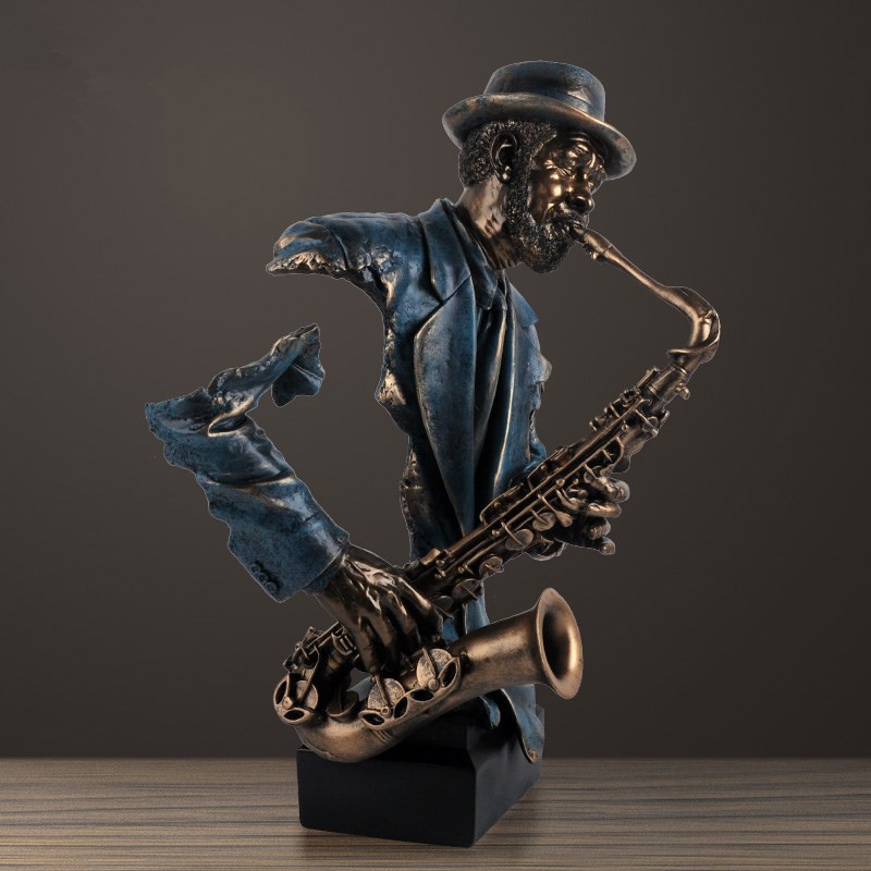 57cm Modern Creative Music Saxophone Bust Statue Abstract Figure Musician Figurine Resin Art&Craft Home Decoration R1438