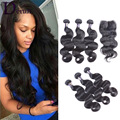 Peruvian Virgin Hair With Closure Body Wave 3 Bundles with Lace Closure 7A Unprocessed Human Hair Weft With Closure Aliexress UK
