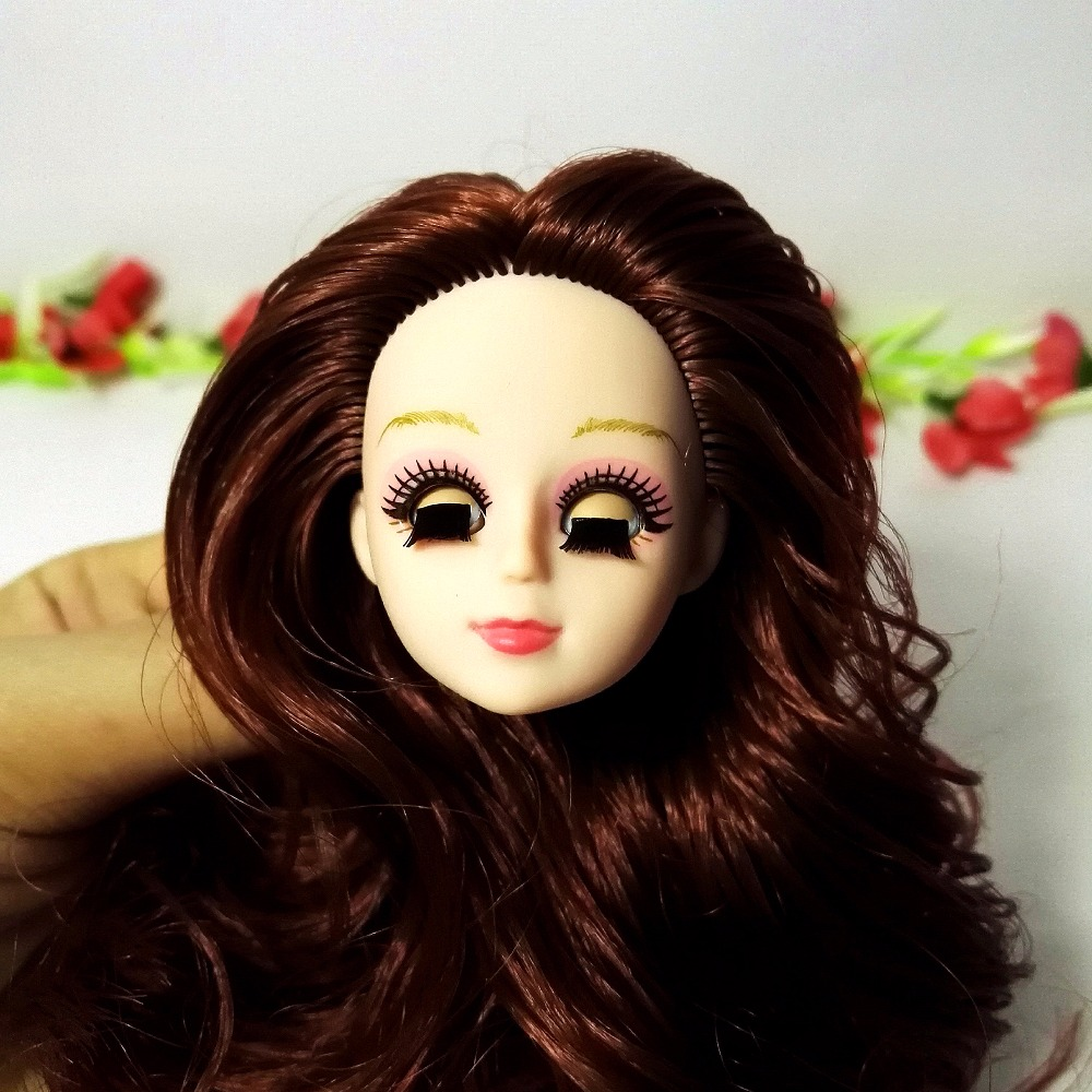 c144ebb6a6f 3D blink eye Head for barbie doll Excellent Quality Head Doll with curly  hair DIY Accessories For Barbie Dolls 1/6 Girl toy gift-in Dolls  Accessories from ...