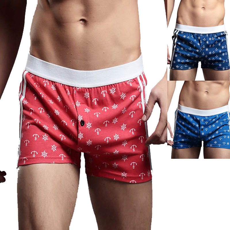 Hot New Male Sport Exercise Training Underwear Loose Soft And Comfortable Anchors Printed Cotton Training Gym Boxer S