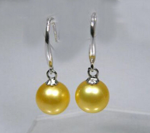 free shipping 13377 Charming AAA+ yellow south sea pearls dangle earring