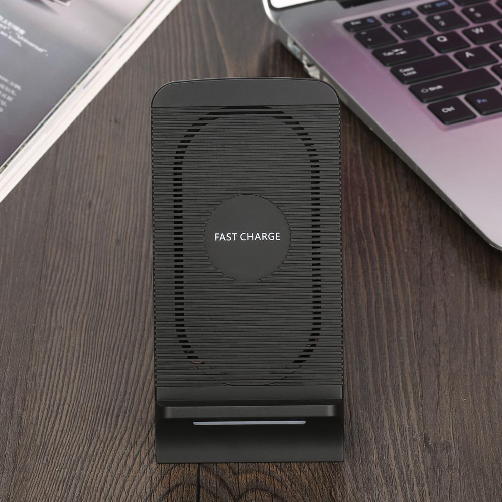 Qi Quick Wireless Charger For iPhone X/8/8 Plus Fast Wireless Charging Stand With Wind Fan For Samsung Galaxy S9 Plus Note 8 S8 Qi Quick Wireless Charger For iPhone X/8/8 Plus Fast Wireless Charging Stand With Wind Fan For Samsung Galaxy S9 Plus Note 8 S8