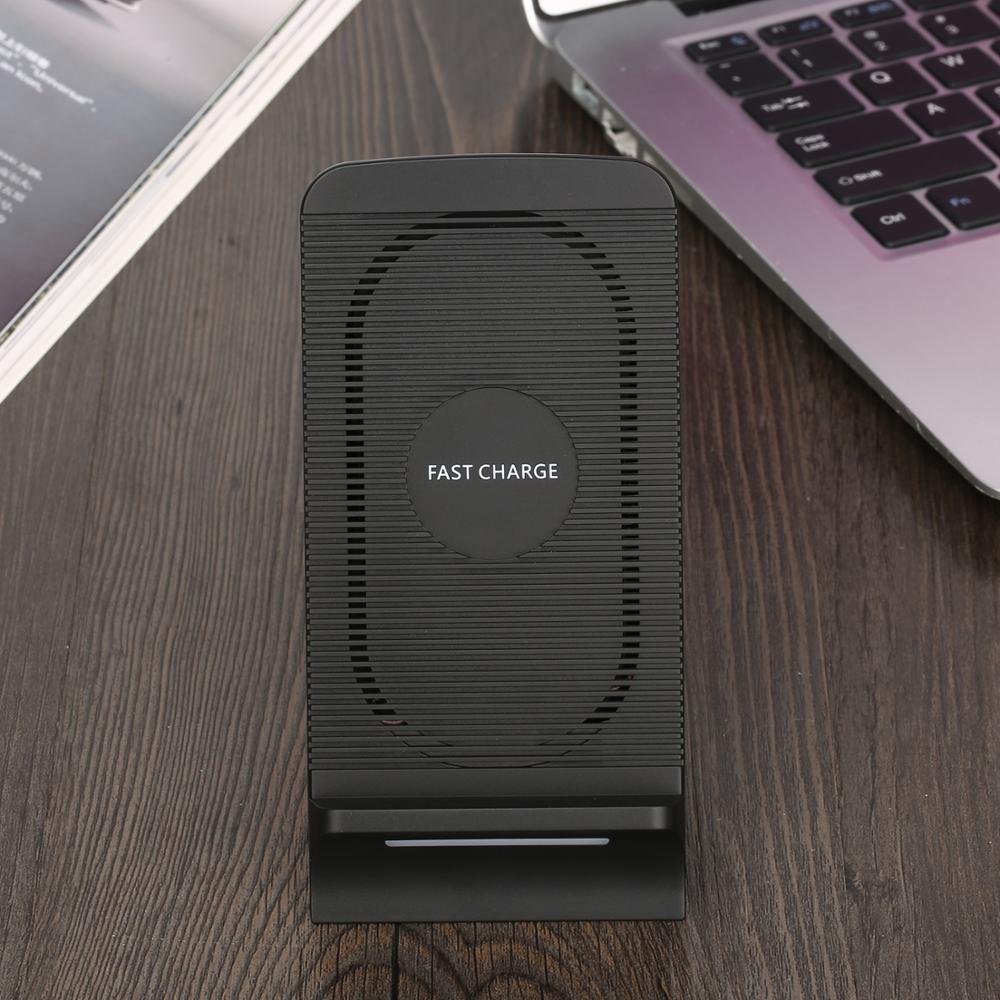 Qi chargeur rapide sans fil pour iPhone X/8/8 Plus support de charge rapide sans fil avec ventilateur pour Samsung Galaxy S9 Plus Note 8 S8