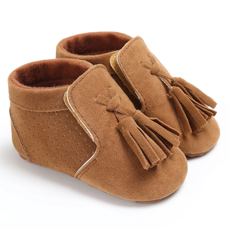 2018 New Suede Leather Newborn Baby Boy Girl Moccasins Soft Moccs Shoes Bebe Fringe Soft Soled Non-slip Shoe
