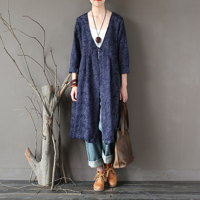 Johnature Women Jacquard   Trench   Chinese Style 2018 Spring New Button Full Sleeve V-Neck Cardigan Vintage Coats Pockets   Trench