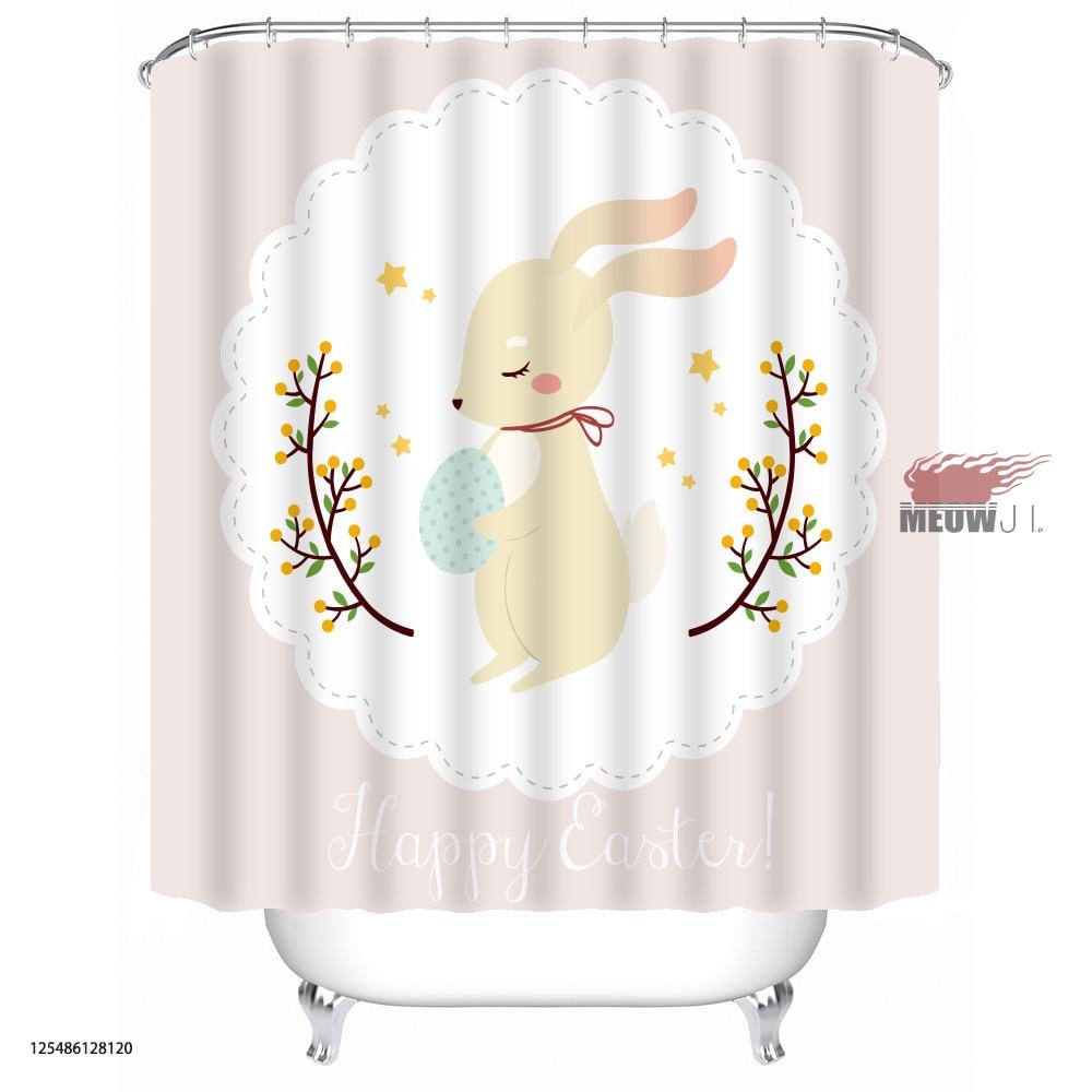 Bunny Rabbit Gorgeous Girl Cute Animal cortina de ducha personalizada - Bienes para el hogar - foto 2