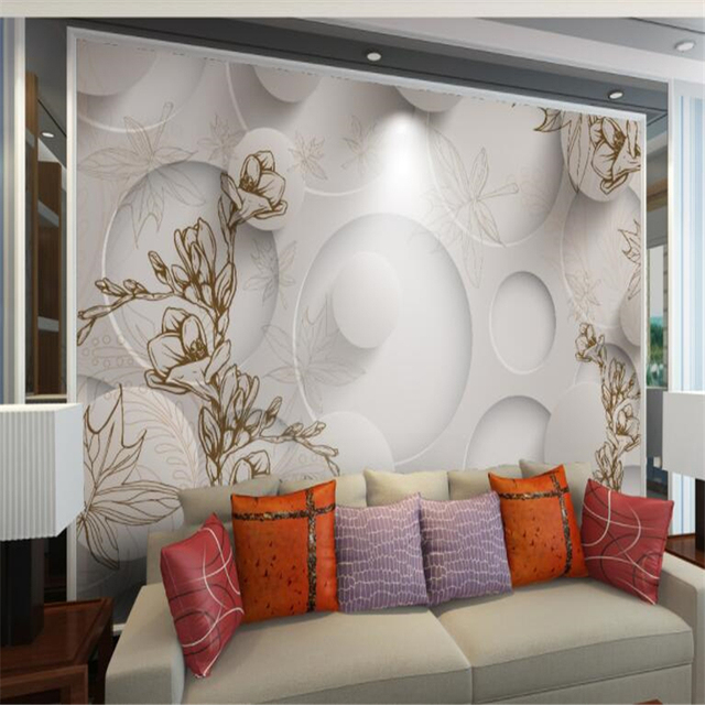 Beibehang Personality Retro Wallpaper Line Drawing Magnolia Maple Leaf Living  Room 3d Wallpaper3D TV Sofa Background