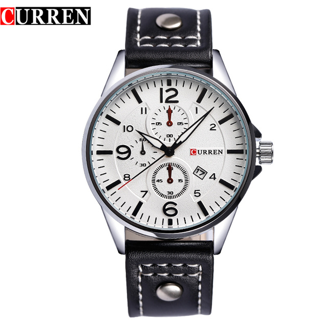 Luxury Brand Curren Mens Casual Watch Man Leather Strap Watches Fashion Military Quartz Wristwatch Male Clocks Day Date Relogio