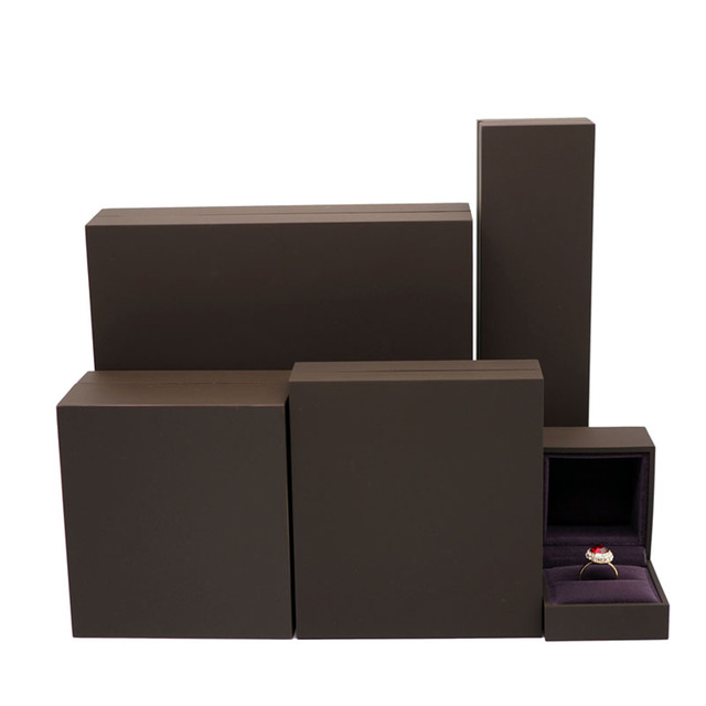 Paint Brown jewelry boxes gift and packaging wedding ring case