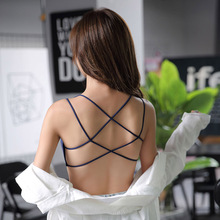 2019 Camisole For Women Knitted Threaded Strap Sexy Beauty Back Breathable Cross Bodice Gather Cotton Brallete Top renda