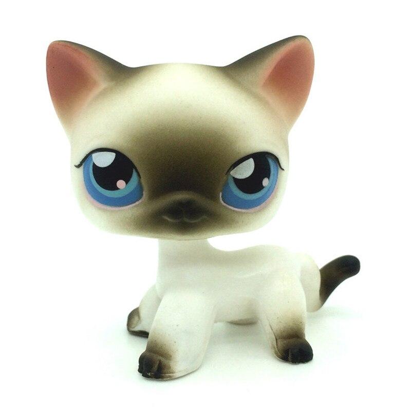 LPS pet shop rare black white short hair Siamese cat blue eyes lps mini collection action cute loose figure children's best gift