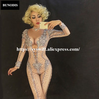BU072 Bling Diamonds Bodysuit Sexy Full of Sparkling Crystals Jumpsuit Celebrate Nightclub Singer Performance Stage Wear Costume