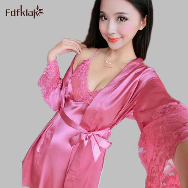 US $17.62 49% OFF|Women sleepwear set high quality 2018 satin silk lingerie  plus size dressing gowns for women long sleeve robes & gowns sets-in Robe  ...