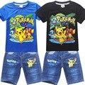 Pokemon идут Дети Девочки Мальчики Мультфильм Костюм комплект Одежды для Детей Одежда Для Девочек шорты футболки + Джинсы брюки