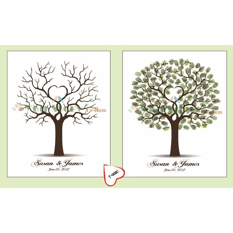 Guest Book Alternative Thumbprint Wedding Tree Fingerprint: Customized Wedding Fingerprint Tree Guestbook Alternative