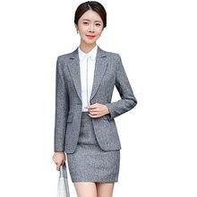 f4532fdf48 Las mujeres traje Formal traje Oficina dama falda trajes de negocios  uniformes de trabajo 2 piezas faldas chaqueta conjunto mues.