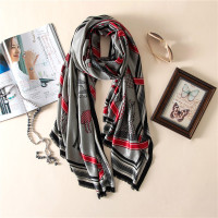 New Garden Fashion High Grade Elegant Wild Temperament Printing Silk Women Scarf Large Pentium Horse Pattern