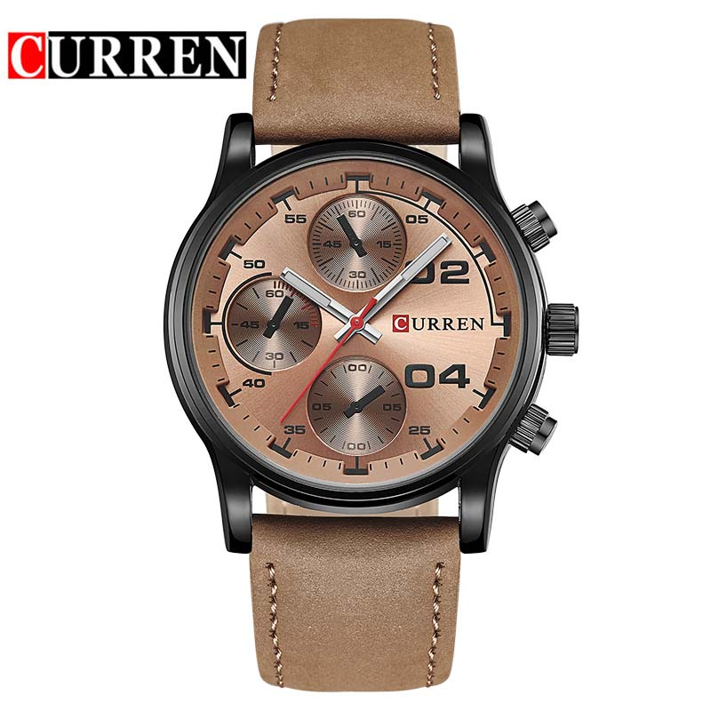 CURREN Watch Top Luxury Brand Mens Watches Leather Analog Date Quartz-Watch Casual Sport Men Clock Wristwatch Relojes 8207 new curren mens casual watches top brand luxury wrist watches male clock men leather strap analog quartz military watch gift