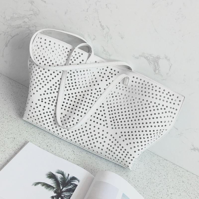 2017 new white hollow Tote bag large capacity single shoulder portable ladies bag