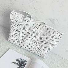 2017 new weißen hohl einkaufstasche große kapazität einzelnen schulter tragbare damen tasche